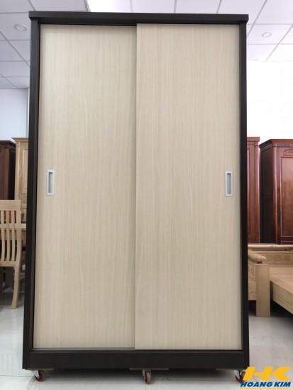 Tủ Áo Cửa Lùa Gỗ Công Nghiệp MDF Melamine Kem Nâu