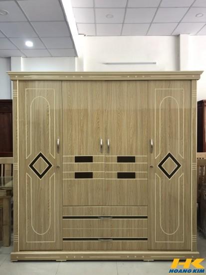 Tủ áo 4 Cánh Gỗ MDF Melamine Sơn Bóng Màu Lim