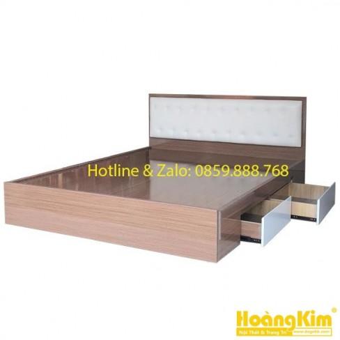Giường Ngủ Gỗ Ngăn Kéo Đầu Nệm Màu Kem Hoàng Kim 340