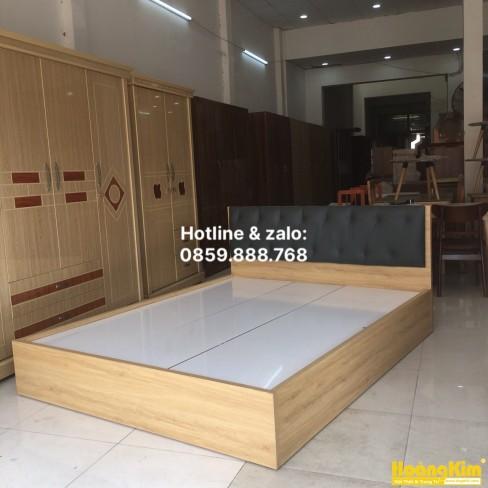 Giường Ngủ Gỗ MDF Phủ Melamine Bọc Nệm Hiện Đại Màu Vàng HK 388