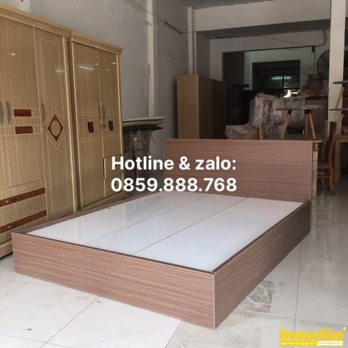 Giường Ngủ Gỗ MDF Melamine Màu Nâu HK 340